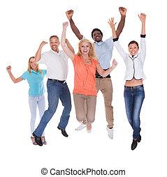 lycklig, tillfällig, folk grupp