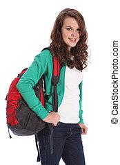 lycklig, tonårig, utbilda flicka, med, röd, ryggsäck