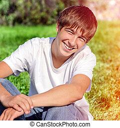 lycklig, tonåring, utomhus