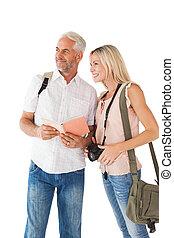 lycklig, turist, par, användande