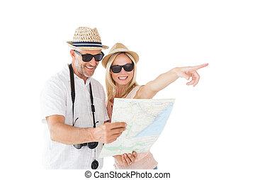 lycklig, turist, par, användande, karta, och, pekande
