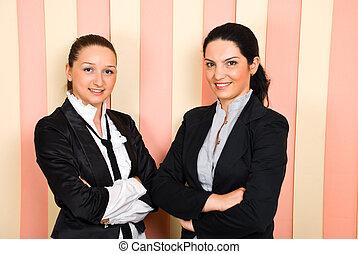 lycklig, två, affärsverksamhet kvinnor