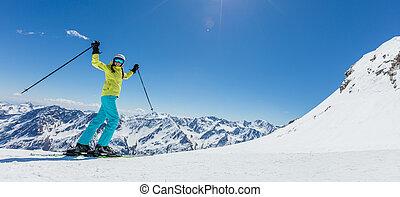 lycklig, ung kvinna, skidåkare, avnjut, solig, väder, in,...