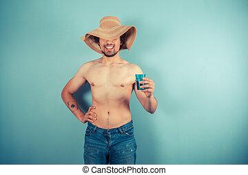 lycklig, ung man, tröttsam, hatt, och, drickande