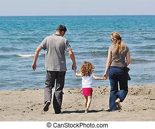 lycklig, ung släkt, ha gyckel, på, strand