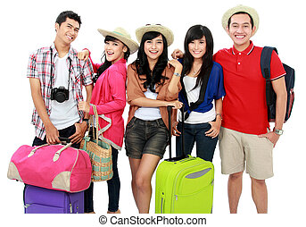 lycklig, ungdomar, på semester