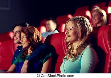 lycklig, vänner, åskådande film, in, teater