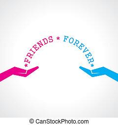 lycklig, vänskap, dag, kort, hälsning