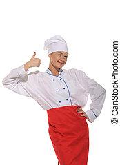 lycklig, vacker kvinna, kock