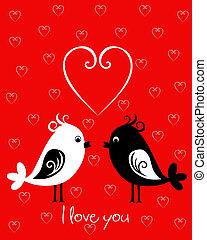 lycklig, valentinkort dag, kort, fåglar