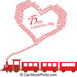 lycklig, valentinkort dag, med, tåg
