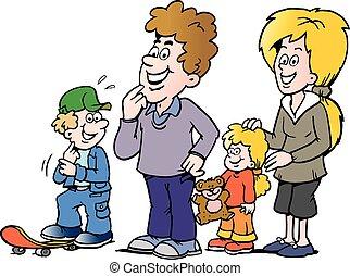 lycklig, vektor, illustration, familj, tecknad film