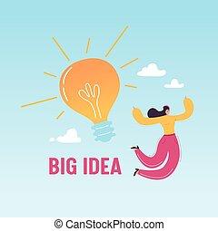 lycklig woman, affär, framgång, stor, concept., illustration, skapande, nyskapande, idé, vektor, lätt, prestation, bulb., kläckning av ideer, hoppning