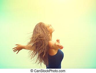 lycklig woman, avnjut, nature., skönhet, flicka, resning, räcker, utomhus