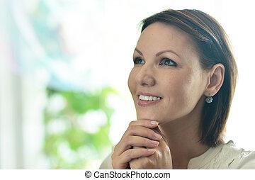 lycklig woman