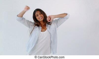 lycklig woman, dansande