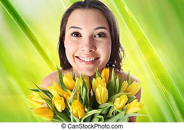 lycklig woman, med, blomningen