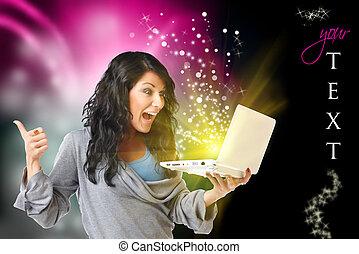 lycklig woman, med, dator