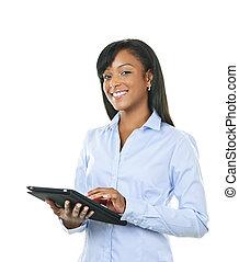 lycklig woman, med, kompress, dator