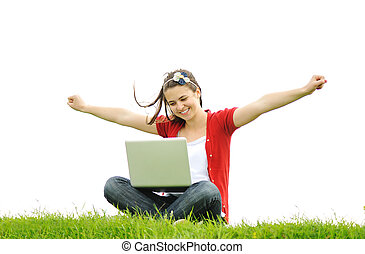 lycklig woman, med, laptop