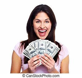 lycklig woman, med, pengar.