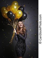 lycklig woman, med, sväller, fira, henne, födelsedag