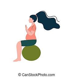 lycklig woman, moderlig, fitball, gravid, illustration, vektor, brunett, graviditet, fitness, hälsa varsamhet, övning, attraktiv
