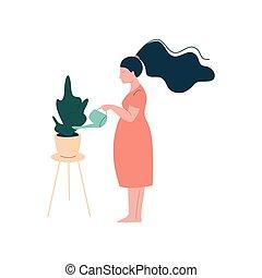lycklig woman, moderlig, gravid, vattning, illustration, houseplant, vektor, brunett, graviditet, hälsa varsamhet, attraktiv