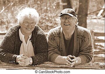 lyckligt, par, gift