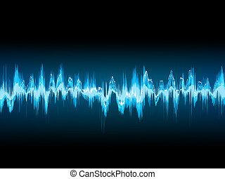 lyd, 10, blue., eps, bølge, mørke, klar
