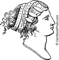 Lydian hairstyles, vintage engraving. - Lydian hairstyles,...