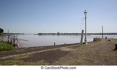 Lydney harbour jetty view pan - Lydney harbour jetty view...
