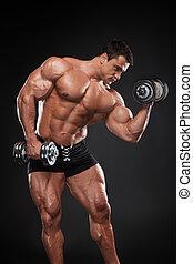 lyft, hantel, en annan, bodybuilder, muskulös, en, medan,...