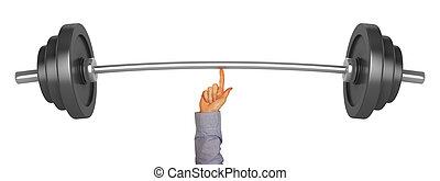 lyftande, vikt, med, en, finger