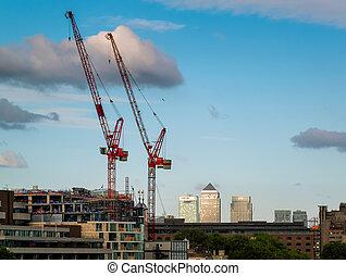 lyftkranar, in, londons stad