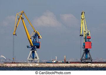 lyftkranar, jättestor, två, hamn