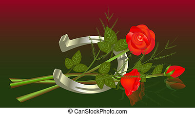 Lying bouquet of roses with horseshoe.