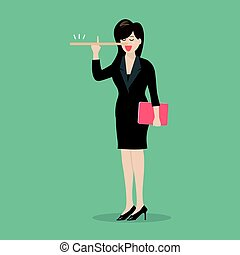 Lying business woman with long nose