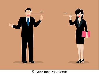 Lying businessman and woman with long nose