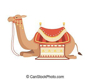 Lying Camel, Two Humped Desert Animal with Bridle and Saddle Decorated with Ethnic Ornament Vector Illustration