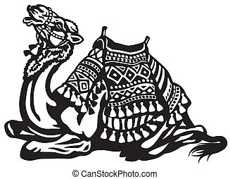 lying camel with saddle black and white illustration