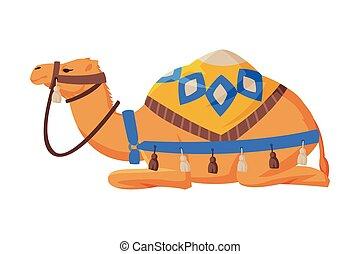 Lying Camel with Saddle, Ttwo Humped Ddesert Animal, Symbol of Egypt Flat Style Vector Illustration on White Background
