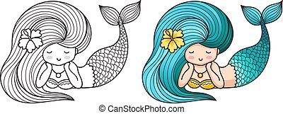 Lying dreamy mermaid. Cute cartoon character.