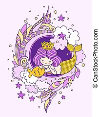 Lying dreamy princess mermaid with fish, surrounded by seaweed, clouds, starfish. Vector illustration for poster, print, invitation, card.