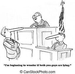 Lying in Court - Law cartoon about a lawyer and a witness...