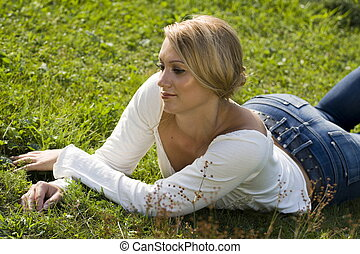 Lying in the grass