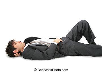 Lying on back businessman