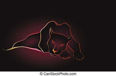 Lying sweetheart black Panther on a dark background. EPS10 vector illustration