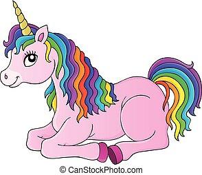 Lying unicorn theme image 1 - eps10 vector illustration.