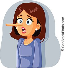 Lying  Woman with Long Nose Vector Cartoon - Dishonest girl ...